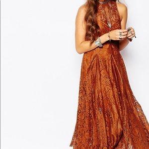 Free People copper orange midi lace swing dress